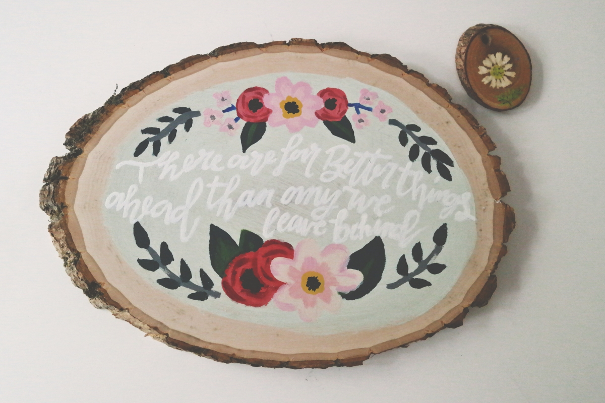 Wood Slice Lettering Project